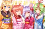 4girls :d ^_^ ahoge animal_ear_fluff animal_ears bangs blonde_hair blue_eyes blue_kimono blush bow brown_eyes brown_hair brown_kimono checkered chinese_zodiac closed_eyes closed_mouth commentary_request eyebrows_visible_through_hair fang floral_print flower green_hair hair_between_eyes hair_bow hair_flower hair_ornament hand_on_hip hands_on_another's_shoulders happy_new_year holding_hands japanese_clothes kimono long_sleeves mouse_ears multicolored_hair multiple_girls new_year obi open_mouth original pink_flower pink_kimono print_kimono purple_hair red_bow red_eyes red_kimono redhead ringlets sash smile two-tone_hair wide_sleeves year_of_the_rat yellow_flower yunagi_amane