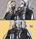 ? ak-12_(girls_frontline) an-94_(girls_frontline) aqua_eyes bangs braid creepy_himecchi english_commentary eyebrows_visible_through_hair gas_mask girls_frontline gloves hair_ribbon hairband jacket jacket_on_shoulders licking long_hair long_sleeves looking_at_another looking_at_viewer mask_around_neck outline partly_fingerless_gloves pink_hair ribbon st_ar-15_(girls_frontline) upper_body yuri