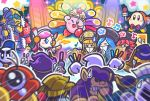 2boys 4girls ;d blonde_hair blue_hair bonkers broom_hatter channel_ppp cheering chilly_(kirby) commentary_request copy_ability flamberge_(kirby) flying_sweatdrops francisca_(kirby) glowstick headset hyness king_dedede kirby kirby_(series) kouhaku_uta_gassen max_profitt_haltmann meta_knight multiple_boys multiple_girls new_year official_art one_eye_closed open_mouth redhead smile star susie_(kirby) waddle_dee waddle_doo zan_partizanne