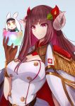 2girls animal_ears azur_lane bangs black_gloves blue_background brown_eyes brown_hair commentary_request curled_horns eyebrows_visible_through_hair flower gloves hair_flower hair_ornament hairband highres horns jacket jacket_on_shoulders long_hair looking_at_viewer marshall2033 minigirl multiple_girls rabbit_ears red_flower shimakaze_(azur_lane) simple_background suruga_(azur_lane) upper_body violet_eyes white_hair