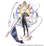1boy black_gloves black_pants boots character_request clenched_hand company_name dated flag full_body gloves gold_trim grey_eyes hand_up highres holding_polearm king's_raid male_focus official_art pants simple_background solo vest white_background
