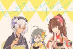 2020 3girls ahoge alternate_costume black_kimono black_nails brown_eyes brown_hair cherry_blossoms chopsticks colis cup dark_skin english_text flower glasses grey_hair hair_between_eyes hair_flower hair_ornament headgear holding holding_chopsticks holding_cup japanese_clothes kantai_collection kimono kiyoshimo_(kantai_collection) light_brown_hair long_hair multiple_girls musashi_(kantai_collection) new_year pink_kimono ponytail twitter_username two_side_up upper_body violet_eyes yamato_(kantai_collection) yellow_kimono zouni_soup