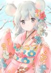 1girl :o animal animal_ears animal_on_shoulder arms_up bangs blue_sky blurry blurry_background clouds commentary_request day depth_of_field eyebrows_visible_through_hair floral_print flower grey_eyes grey_hair hagoita hair_flower hair_ornament highres hoshiibara_mato japanese_clothes kimono leaning_back looking_at_viewer mouse mouse_ears mouse_on_shoulder obi original outdoors paddle pink_kimono sash short_hair sky sleeves_past_wrists solo tree_branch