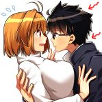 1boy 1girl arcueid_brunestud black_eyes black_hair blonde_hair blush breasts couple exa_(koyuru) eyebrows_visible_through_hair eyes_visible_through_hair glasses hair_intakes highres hug large_breasts long_sleeves red_eyes school_uniform short_hair sweater toono_shiki tsukihime tukihimegoto turtleneck white_background