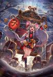 1girl 2020 animal animal_ears bag bare_shoulders bell black_skirt blush bow brown_eyes buruma carrying chinese_zodiac clouds cloudy_sky fantasy grey_hair hairband handbag highres japanese_clothes kuroi_susumu lantern long_sleeves medium_hair mouse multicolored multicolored_clothes nengajou new_year open_mouth orange_bow original outdoors pointing red_skirt running skirt sky smile snow talisman tree year_of_the_rat