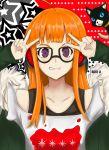 1girl brown_eyes futaba_channel highres kiro-u long_hair orange_hair persona persona_5 sakura_futaba smile solo