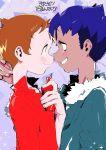 2boys blue_hair brown_hair dark_skin dark_skinned_male eye_contact fur-trimmed_jacket fur_trim g6_(jiiroku) grin highres hop_(pokemon) jacket looking_at_another looking_at_viewer male_focus masaru_(pokemon) multiple_boys pokemon pokemon_(game) pokemon_swsh rotom_phone smile yaoi yellow_eyes