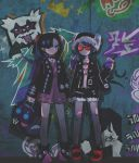 2girls absurdres alternate_costume alternate_hairstyle bag bandaid bandaid_on_leg black_jacket croagunk crop_top cup disposable_cup dress drinking_straw earrings eyebrow_piercing fur_hat galarian_zigzagoon graffiti hat highres holding_hands huge_filesize impidimp jacket jewelry kurui96 looking_at_viewer mary_(pokemon) morpeko multiple_girls navel piercing pink_dress pokemon pokemon_(game) pokemon_swsh punk sableye shopping_bag short_shorts shorts standing stomach stud_earrings sunglasses twintails wall yuuri_(pokemon)