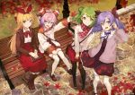 4girls ahoge autumn autumn_leaves bench black_legwear book book_on_lap boots bow brown_bow brown_footwear character_request company_name copyright_request day double_bun green_eyes green_hair hair_bow hairband highres holding holding_book holding_leaf knee_boots leaf long_hair long_sleeves multiple_girls nagu outdoors pink_hair purple_hair red_ribbon red_skirt ribbon short_hair short_twintails sitting skirt standing thigh-highs twintails very_long_hair violet_eyes white_legwear