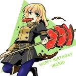 1girl blonde_hair blue_legwear character_name eating fire_emblem fire_emblem:_three_houses food food_in_mouth garreg_mach_monastery_uniform green_eyes happy_birthday holding ingrid_brandl_galatea long_hair long_sleeves meat solo twitter_username uniform yukia_(firstaid0)