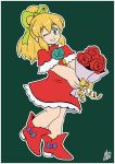 1girl android blonde_hair blush bouquet capcom dress eyebrows_visible_through_hair flower full_body green_eyes hair_between_eyes hair_ribbon high_ponytail holding holding_bouquet ian_dimas_de_almeida long_hair one_eye_closed ponytail red_dress red_footwear ribbon rockman rockman_(classic) roll sidelocks signature simple_background smile solo