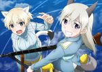 2girls animal_ears blonde_hair blue_eyes blush brave_witches breasts condensation_trail eila_ilmatar_juutilainen eyebrows_visible_through_hair flying fox_ears fox_tail grin gun highres large_breasts looking_at_viewer medium_hair multiple_girls nikka_edvardine_katajainen oinari_(koheihei1109) open_mouth pantyhose parted_lips rifle shiny shiny_hair short_hair sky smile strike_witches striker_unit sweater tail teeth weapon weasel_ears weasel_tail white_hair white_legwear world_witches_series