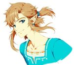 1boy bangs blonde_hair blue_eyes blue_ribbon blue_shirt closed_mouth collarbone commentary_request ear_piercing earrings hair_ribbon jewelry link long_hair looking_at_viewer male_focus muse_(rainforest) piercing pointy_ears ribbon shirt sidelocks simple_background smile solo the_legend_of_zelda upper_body white_background
