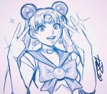 1girl bishoujo_senshi_sailor_moon choker commentary crescent crescent_earrings double_bun double_v earrings elbow_gloves english_commentary gloves highres jewelry long_hair robert_porter sailor_moon sailor_senshi_uniform signature sketch solo sparkle tsukino_usagi twintails v