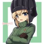 1girl bangs black_gloves black_headwear blonde_hair blue_eyes blush border commentary crossed_arms eyebrows_visible_through_hair fang frown girls_und_panzer gloves green_border green_jumpsuit helmet insignia jumpsuit katyusha_(girls_und_panzer) long_sleeves looking_at_viewer nanjou_satoshi open_mouth outline pravda_military_uniform short_hair solo sweatdrop tank_helmet twitter_username upper_body white_outline