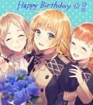 3girls annette_fantine_dominic blonde_hair bouquet bow closed_eyes closed_mouth fire_emblem fire_emblem:_three_houses flower flwoer garreg_mach_monastery_uniform green_eyes happy_birthday ingrid_brandl_galatea long_hair long_sleeves low_ponytail mercedes_von_martritz multiple_girls open_mouth orange_hair smile twintails twitter_username uniform upper_body yamyom