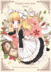 1girl apron back_bow black_dress black_footwear blonde_hair blush bow chestnut_mouth chibi clock cup daisy dot_nose dress english_text eyebrows_visible_through_hair flower food fork frilled_apron frills fruit full_body grey_eyes heart holding holding_fork jar leaf long_dress long_hair long_sleeves maid maid_apron maid_dress maid_headdress neko_satou one_side_up open_mouth original photo_(object) picture_frame plant plate shoes sidelocks signature solo spoon straight_hair strawberry strawberry_shortcake sugar_cube tea teacup vines white_bow yellow_background yellow_flower