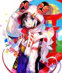 1girl :d animal_ears backpack bag black_hair blue_eyes chinese_zodiac fuji_choko highres hood hooded_jacket jacket looking_at_viewer mouse_ears multicolored_hair new_year open_mouth original signature smile solo two-tone_hair white_hair year_of_the_rat