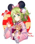 1girl 2020 animal_ears bangs black_hairband blush braid chinese_zodiac claw_pose closed_mouth commentary cropped_torso egasumi eyebrows_visible_through_hair fake_animal_ears floral_print flower frilled_sleeves frills green_eyes green_hair hair_flower hair_ornament hairband happy_new_year japanese_clothes kimono long_sleeves meito_(maze) morinaka_kazaki mouse_ears new_year nijisanji obi object_hug one_side_up pink_kimono print_kimono sash sleeves_past_wrists smile solo stuffed_animal stuffed_toy teddy_bear upper_body virtual_youtuber white_background white_flower wide_sleeves year_of_the_rat