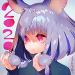 2020 animal animal_ears animal_on_head bangs blunt_bangs chinese_zodiac grey_background grey_hair highres holding holding_animal medium_hair mita_chisato mouse mouse_ears on_head open_mouth original pink_eyes pink_hair year_of_the_rat