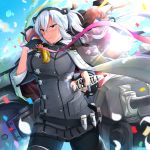 1girl black_legwear blue_sky blush breasts cannon cape cartridge clouds confetti dark_skin day double-breasted floating_hair glasses glint gloves grey_cape grey_jacket grey_nails hair_ribbon headgear highres holding jacket kantai_collection large_breasts light_particles long_hair machinery miniskirt musashi_(kantai_collection) outdoors partly_fingerless_gloves red_eyes remodel_(kantai_collection) ribbon rigging shell_casing skirt sky sleeve_cuffs smokestack standing turret twintails wind yunamaro