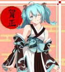 1girl 2020 ahoge bangs bare_shoulders black_sleeves blue_bow blue_eyes blue_hair blush bow braid collarbone commentary_request detached_sleeves egasumi eyebrows_visible_through_hair grin hair_between_eyes hair_ornament hatsune_miku highres japanese_clothes kimono long_sleeves looking_at_viewer nail_polish obi one_eye_closed pink_nails sash sleeveless sleeveless_kimono sleeves_past_wrists smile solo taka_(0taka) translation_request twintails vocaloid wave_print white_kimono