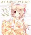 1girl 2020 ;q animal animal_ears bangs blush bow brown_kimono closed_mouth commentary_request egasumi eyebrows_visible_through_hair floral_print frilled_sleeves frills hair_between_eyes hair_bow hair_ornament hamster hamster_ears happy_new_year highres holding holding_animal japanese_clothes kimono light_brown_hair long_hair long_sleeves looking_at_viewer maid_headdress nanase_miori new_year obi one_eye_closed original print_kimono red_bow red_eyes sash seed sleeves_past_fingers sleeves_past_wrists smile solo sunflower_seed tongue tongue_out translation_request very_long_hair white_background