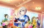 anastasia_(idolmaster) blue_eyes blush food grey_hair idolmaster_cinderella_girls_starlight_stage kimono short_hair