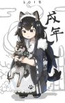 1girl 2018 animal animal_ears apron bamboo bandana bangs black_eyes black_hair chinese_zodiac dog dog_ears dog_girl dog_tail flower fur_collar highres hikimayu holding holding_animal holding_dog japanese_clothes kimono long_hair long_sleeves looking_at_another maid_apron maid_headdress new_year original paw_print_pattern shoes sidelocks squatting tail translated wa_maid year_of_the_dog zizi_niisan