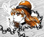 1girl alternate_eye_color alternate_hair_color bangs black_choker chain choker commentary_request earrings eyebrows_visible_through_hair from_side hand_up heart hecatia_lapislazuli highres jewelry long_hair looking_at_viewer nail_polish orange_eyes orange_hair orange_nails polos_crown profile smile solo sonosaki_kazebayashi stud_earrings touhou white_background