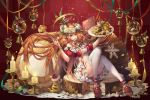 1girl bell breasts brown_eyes brown_hair cake candle candlestand candy christmas convenient_leg copyright_name doily food fork halo head_wreath highres holding holding_fork holding_plate holly long_hair looking_at_viewer madarame_(kagetsu) medium_breasts merry_christmas midriff neck_bell official_art plate red_background red_footwear short_sleeves sitting snow_globe snowflakes sweets thigh-highs tower_of_saviors very_long_hair