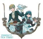 1boy 1girl alternate_costume apron blonde_hair blue_eyes blue_hair blush breasts butler byleth_(fire_emblem) byleth_(fire_emblem)_(female) cake cookie cowboy_shot cup dimitri_alexandre_blaiddyd dress english_text eyebrows_visible_through_hair fire_emblem fire_emblem:_three_houses food frilled_sleeves frills gloves hair_between_eyes long_sleeves looking_at_viewer maid maid_apron maid_headdress medium_breasts medium_hair mena_(suzunoki) puffy_long_sleeves puffy_sleeves shirt short_hair simple_background sweatdrop tea_set teacup teapot towel tray vest white_background white_gloves wrist_cuffs