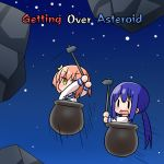 2girls arms_up asteroid bangs blue_sailor_collar blush brown_eyes brown_hair cauldron chibi commentary_request english_text eyebrows_visible_through_hair getting_over_it hair_between_eyes hana_kazari highres holding in_pot koisuru_asteroid konohata_mira long_hair long_sleeves low_twintails manaka_ao multiple_girls open_mouth purple_hair sailor_collar school_uniform serafuku shirt sledgehammer solid_oval_eyes space speed_lines star_(sky) twintails v-shaped_eyebrows very_long_hair wavy_mouth white_shirt