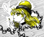 1girl bangs black_choker blonde_hair chain choker commentary_request earrings eyebrows_visible_through_hair from_side hand_up heart hecatia_lapislazuli hecatia_lapislazuli_(moon) highres jewelry long_hair looking_at_viewer nail_polish polos_crown profile smile solo sonosaki_kazebayashi stud_earrings touhou white_background yellow_eyes yellow_nails