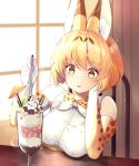 1girl :p absurdres animal_ear_fluff animal_ears animal_ears_(artist) banana_slice bare_shoulders blonde_hair blueberry blush chocolate cocktail_umbrella cream elbow_gloves eyebrows_visible_through_hair food fruit glass gloves head_on_hand highres ice_cream kemono_friends parfait print_gloves raspberry serval_(kemono_friends) serval_ears serval_print shirt short_hair sleeveless solo spoon strawberry tongue tongue_out wafer white_shirt yellow_eyes