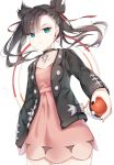 1girl aqua_eyes asymmetrical_bangs asymmetrical_hair bangs black_hair black_jacket black_nails blush breasts choker collarbone commentary_request dress earrings eyebrows_visible_through_hair hair_ribbon highres holding holding_poke_ball jacket jewelry long_sleeves looking_at_viewer mary_(pokemon) nyaruin open_clothes pink_dress poke_ball pokemon pokemon_(game) pokemon_swsh red_ribbon ribbon solo twintails
