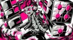 1boy action artist_name aura commentary fangs frown glowing glowing_eyes greyscale hair_slicked_back headphones highres holding holding_weapon ink_tank_(splatoon) inkling jacket looking_to_the_side male_focus monochrome open_clothes open_jacket open_mouth partially_colored pink_eyes pink_hair pink_theme shirt short_hair shorts signature solo splatoon_(series) splatoon_2 standing tenta_missiles_(splatoon) weapon yuito_(yuitokobunasbs0)