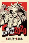 1boy 2020 arc_system_works commentary commission commissioner_upload copyright_name english_commentary forehead_protector grin guilty_gear guilty_gear_strive happy_new_year high_contrast higuchi_konomi huge_weapon male_focus new_year official_art over_shoulder ponytail smile sol_badguy solo spiky_hair sword sword_over_shoulder weapon weapon_over_shoulder