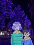 2boys brown_eyes green_eyes highres kojirou_(pokemon) multiple_boys satoshi_(pokemon) scarf shiroineko0220