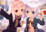 2girls bangs blonde_hair blue_eyes blue_jacket blurry blurry_background blush brown_ribbon brown_scarf bubble_tea bunny_hair_ornament commentary_request eyebrows_visible_through_hair fate/kaleid_liner_prisma_illya fate_(series) gochuumon_wa_usagi_desu_ka? hair_between_eyes hair_ornament holding illyasviel_von_einzbern jacket kafuu_chino long_hair long_sleeves looking_at_viewer multiple_girls open_mouth outdoors purple_jacket red_eyes ribbon scarf silver_hair smile taku_michi x_hair_ornament