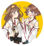 2girls absurdres ahoge blue_eyes brown_hair calligraphy_brush circle commentary_request detached_sleeves dokuganryuu double_bun face_painting flipped_hair green_skirt hairband headgear hiei_(kantai_collection) highres kantai_collection kongou_(kantai_collection) long_hair multiple_girls paintbrush ribbon-trimmed_sleeves ribbon_trim short_hair skirt violet_eyes yellow_background