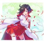 1girl black_hair cape cloak flower gohei gradient_hair grey_eyes hakama hakama_skirt highres hip_vent hood hooded_cloak iesupa japanese_clothes kimono miko multicolored_hair nontraditional_miko petals red_cape red_hakama redhead ribbon-trimmed_sleeves ribbon_trim rose rose_petals ruby_rose rwby shide short_hair solo thigh-highs two-tone_hair white_kimono wide_sleeves