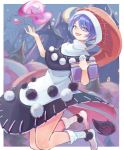 1girl :3 :d absurdres bangs blob blue_eyes blue_hair book border castle commentary_request creeper_(gametime) crescent_moon doremy_sweet dress eyebrows_visible_through_hair ferris_wheel hair_between_eyes hands_up hat highres holding holding_book huge_filesize looking_at_viewer moon nightcap no_shoes open_mouth outside_border pom_pom_(clothes) red_headwear short_hair smile socks solo tail tapir_tail touhou white_border white_dress white_legwear