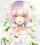 1girl :d act-age bangs black_choker blush bug butterfly choker dress flower hand_up insect kikumamo82 lily_(flower) looking_at_viewer momoshiro_chiyoko open_mouth short_hair simple_background smile solo upper_body white_butterfly white_dress white_hair yellow_eyes