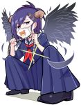 1girl black_footwear black_wings blue_serafuku blue_shirt blue_skirt chain character_print delinquent demon_horns demon_wings earrings feathers full_body furrowed_eyebrows gabriel_dropout glint hair_ornament highres holding_chain horns jewelry long_skirt looking_at_viewer neckerchief pleated_skirt purple_hair shirt shoes skirt solo squatting surgical_mask tenma-gav tsukinose_vignette_april violet_eyes white_background wings x_hair_ornament