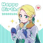 1girl armor blonde_hair blue_gloves cape closed_mouth eating fire_emblem fire_emblem:_three_houses food food_on_face fork gloves green_cape green_eyes happy_birthday heart hiyori_(rindou66) holding holding_fork holding_knife ingrid_brandl_galatea knife solo spoken_heart twitter_username upper_body