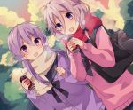 2girls :d bag bangs black_bow black_sailor_collar blush bow braid can cardigan commentary_request dutch_angle eyebrows_visible_through_hair grey_hair hair_between_eyes hair_bow hair_ornament highres holding holding_can ia_(vocaloid) long_hair long_sleeves multiple_girls open_mouth outdoors pink_sweater purple_cardigan purple_hair sailor_collar school_bag school_uniform serafuku sleeves_past_wrists smile sweater twin_braids twintails violet_eyes vocaloid voiceroid yuruno yuzuki_yukari