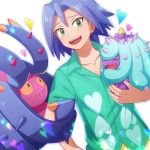 blue_hair blush green_eyes heart kojirou_(pokemon) mareanie shirt t-shirt tomatsukaze toxapex
