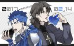 2017 2boys brown_eyes brown_hair cassock cross cross_necklace cu_chulainn_(fate)_(all) dated earrings eating fangs fate/stay_night fate_(series) heart highres jewelry kon_manatsu kotomine_kirei lancer male_focus multiple_boys muted_color necklace red_eyes valentine