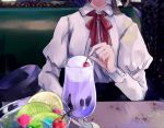 1girl anmitsu_(dessert) black_headwear booth brown_hair cafe cherry collared_shirt commentary_request dessert food fruit hat hat_ribbon head_out_of_frame headwear_removed ice_cream ice_cream_float indoors juliet_sleeves kiwi_slice long_sleeves neck_ribbon parfait poteimo_(poteimo622) puffy_sleeves red_neckwear red_ribbon ribbon shirt short_hair solo sweets touhou usami_renko white_shirt